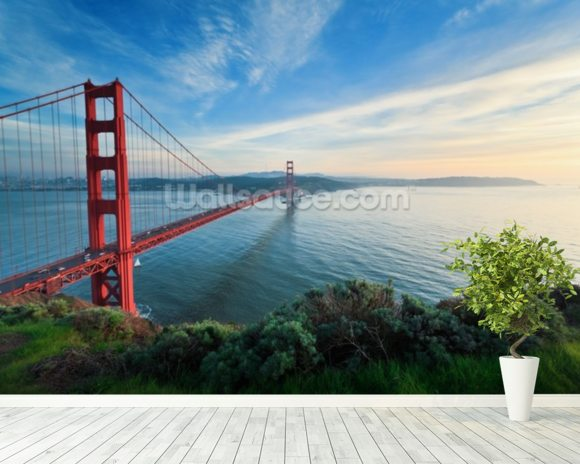 Harbour Bridge, San Francisco mural wallpaper room setting