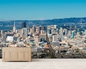 San Francisco city skyline mural wallpaper living room preview