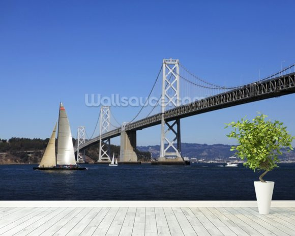 Bay Bridge wall mural room setting