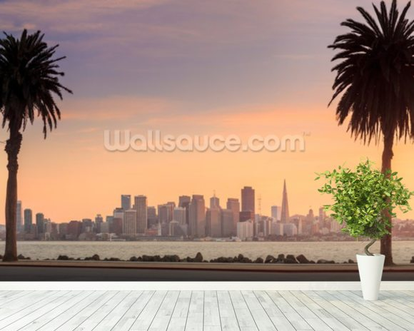 San Francisco from Treasure Island. wallpaper mural room setting