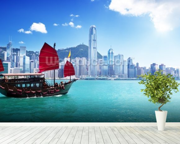 Hong Kong Harbour wallpaper mural room setting