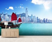 Hong Kong Harbour wallpaper mural living room preview