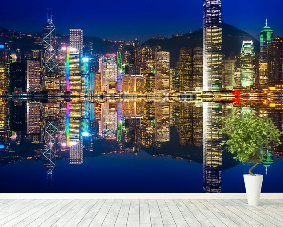 Hong Kong Lights at Night mural wallpaper room setting