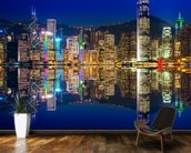 Hong Kong Lights at Night mural wallpaper kitchen preview