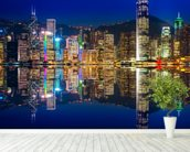 Hong Kong Lights at Night mural wallpaper in-room view
