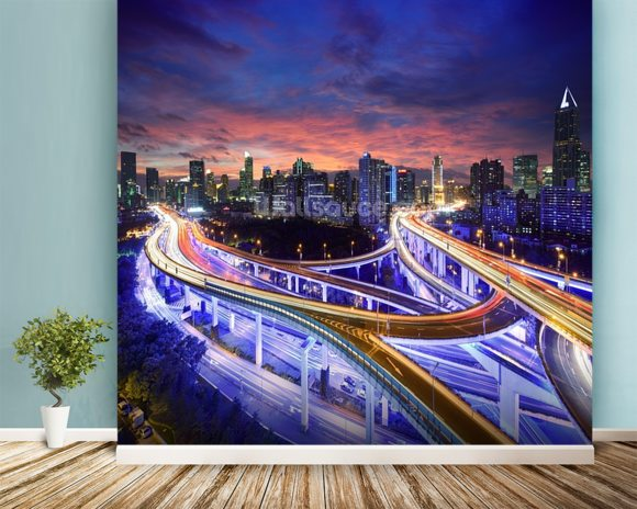 Shanghai Highway Sunset wall mural room setting