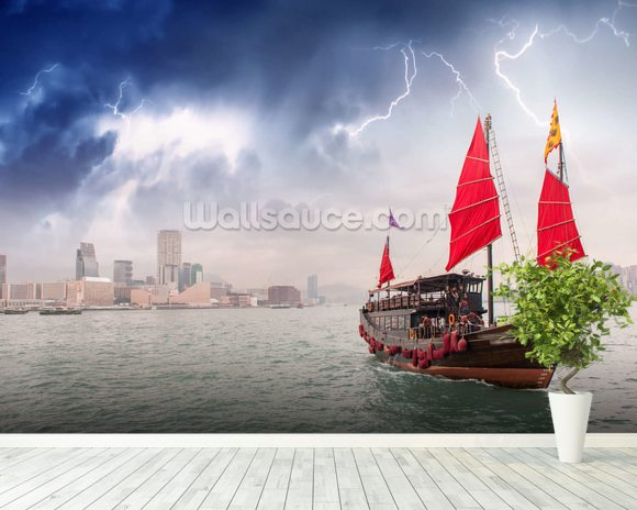 Hong Kong Harbour Boat wall mural room setting