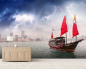 Hong Kong Harbour Boat wall mural living room preview