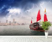 Hong Kong Harbour Boat wall mural in-room view