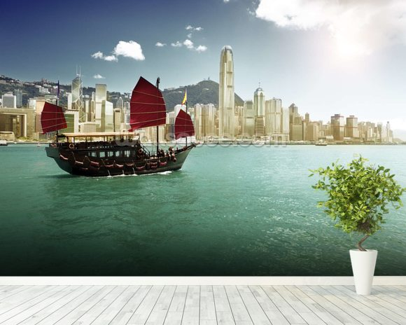Hong Kong Sailing Boat wall mural room setting