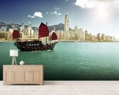 Hong Kong Sailing Boat wall mural living room preview