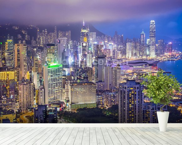 Hong Kong Island Skyline wall mural room setting