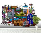 Dublin City Centre mural wallpaper in-room view