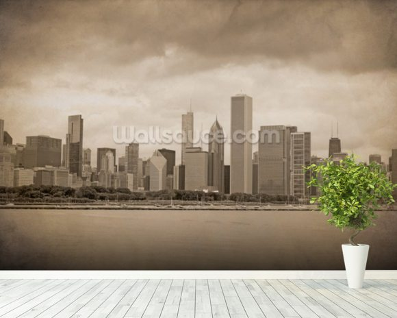 Vintage Chicago Sepia mural wallpaper room setting