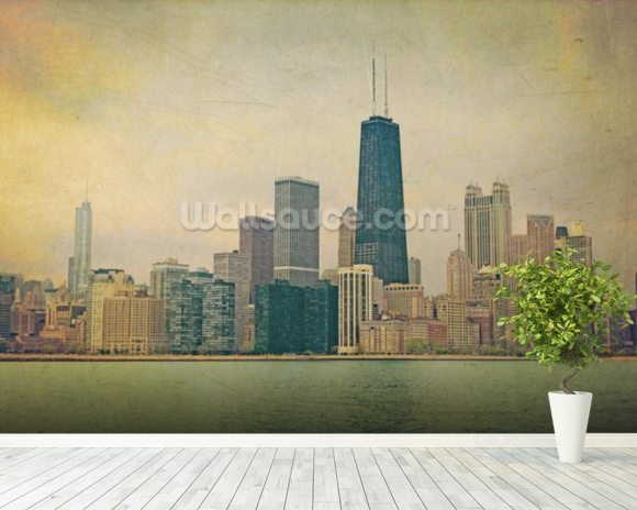 Vintage Chicago wall mural room setting