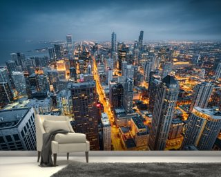 chicago wallpaper amp wall murals wallsauce dusk skyline chicago illinois usa wall mural large