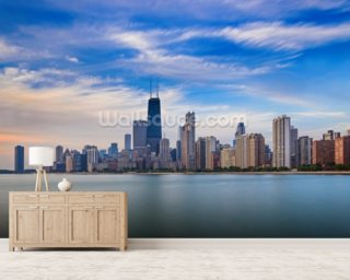 Chicago wallpaper wall murals wallsauce usa for Chicago skyline mural wallpaper