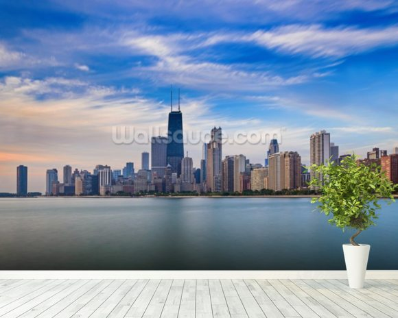 Chicago skyline wallpaper wall mural wallsauce for Mural in chicago illinois