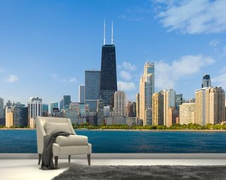 Cityscape of Chicago mural wallpaper