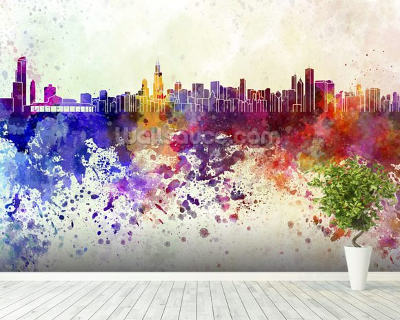 Chicago abstract wallpaper wall mural wallsauce usa for Chicago wall mural