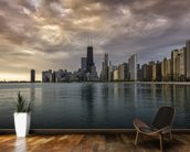 Chicago Sunrise Skyline wallpaper mural kitchen preview