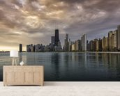 Chicago Sunrise Skyline wallpaper mural living room preview