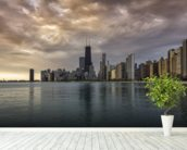 Chicago Sunrise Skyline wallpaper mural in-room view