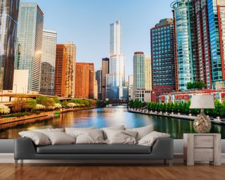 Chicago Downtown Waterway mural wallpaper