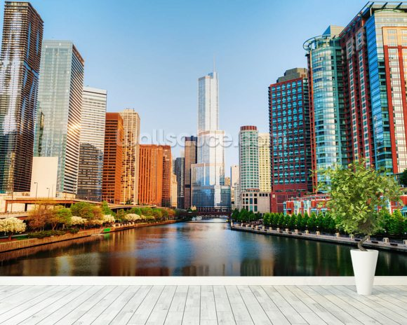 Chicago Downtown Waterway mural wallpaper room setting