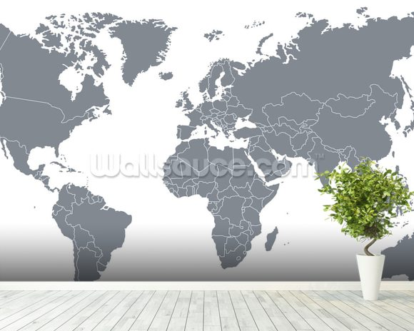 Grey world map wallpaper wall mural wallsauce new zealand grey world map wallpaper mural room setting gumiabroncs