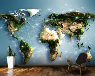 World Map Wallpaper Wall Murals Wallsauce New Zealand - 3d world map wall art