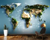 Communications World Map mural wallpaper kitchen preview