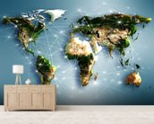 Communications World Map mural wallpaper living room preview