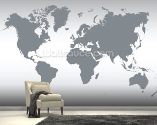 Grey Map of the World mural wallpaper