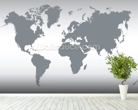 Grey Map of the World mural wallpaper room setting