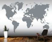 Grey Map of the World mural wallpaper kitchen preview