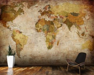 World map wallpaper wall murals wallsauce old style world map wall mural wallpaper gumiabroncs Gallery