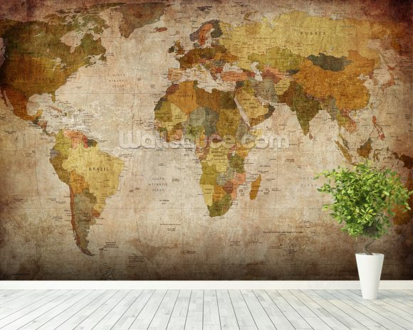 Old style world map wallpaper wall mural wallsauce australia old style world map wall mural room setting gumiabroncs Choice Image