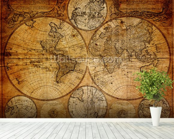 Old Globe Map 1746 mural wallpaper room setting