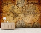 Old Globe Map 1746 mural wallpaper living room preview