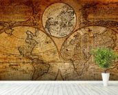 Old Globe Map 1746 mural wallpaper in-room view