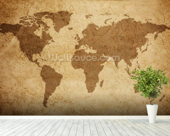 Textured world map wallpaper wall mural wallsauce australia textured world map wall mural room setting gumiabroncs Choice Image