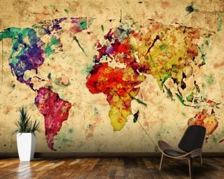 World Map Wallpaper Wall Murals