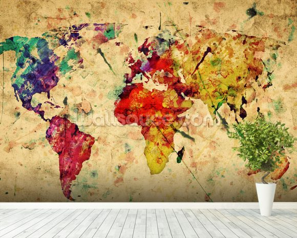 Colourful Vintage Map wallpaper mural room setting
