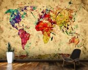 Colourful Vintage Map wallpaper mural kitchen preview