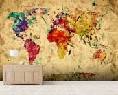 Colourful Vintage Map wallpaper mural living room preview