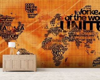 Wood Effect World Word Cloud mural wallpaper