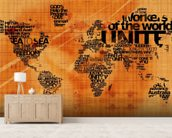 Wood Effect World Word Cloud mural wallpaper living room preview