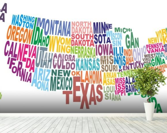 USA Word Cloud Map wallpaper mural room setting