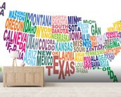 USA Word Cloud Map wallpaper mural living room preview